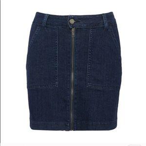 Just Black Denim Zip Front Dark Wash Denim Skirt